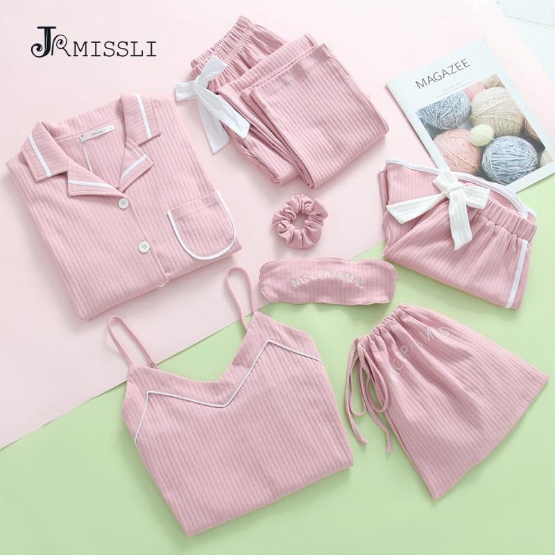 JRMISSLI Women Cotton Sleepwear 7 Pieces Pyjamas Sexy Pajamas Sleep Lounge Pijama Night Home Clothing Pajama Suit