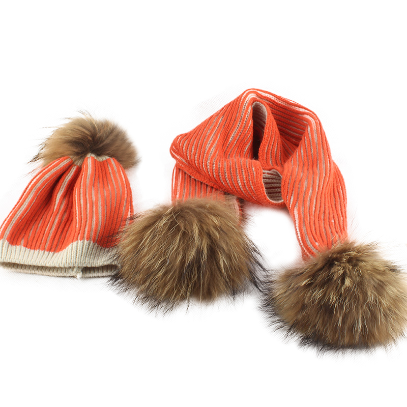 Hat And Scarf Winter Children Two Pieces Wool Knitted Cap Keep Warm Winter Fashion Beanie Hat Kids Real Big Fur Pom Pom Scarf