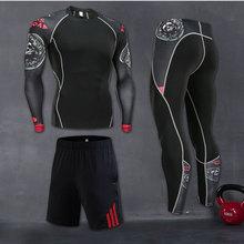 Workout-Compression-Suit Running-Sportswear Skull Basketb Men's Gym-Set Long-Sleeve Elastic