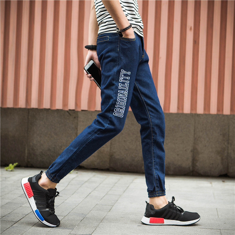 Autumn New Style Korean-style MEN'S Jeans Straight-Cut Beam Leg Teenager Slim Fit Pants Trousers Casual