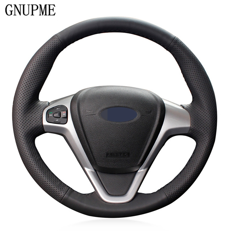 DIY ручной работы черного цвета из искусственной кожи чехол рулевого колеса автомобиля для Ford EcoSport 2014-2017 Fiesta 2008-2017