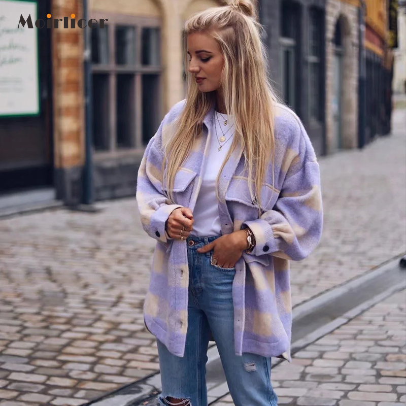 Vintage Purple Lattice Long Jacket Coat Plaid Woolen Shirt Jack Women 2020 Spring Shirt Jacket Oversized Plus Size Women Jacket(China)