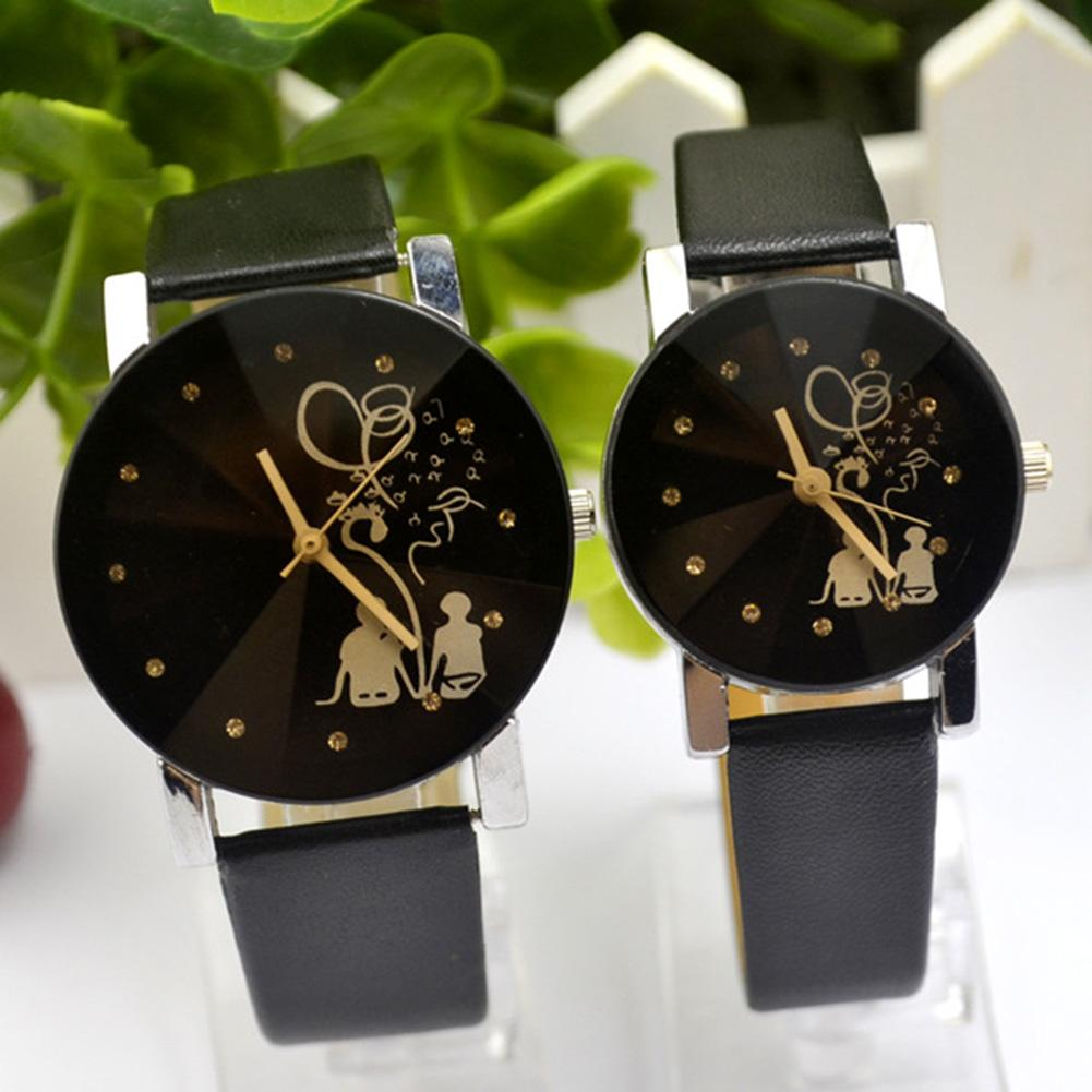 Fashion Couple Watch Back View Rhinestone Faux Leather Analog Sweet Love Men And Women Watch Love Moment Quartz Wrist Watch