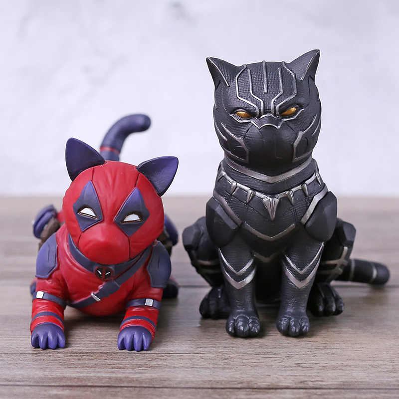 Vingadores Marvel Cosplay Deadpool/Black Panther Gato PVC Figura Collectible Toy Modelo