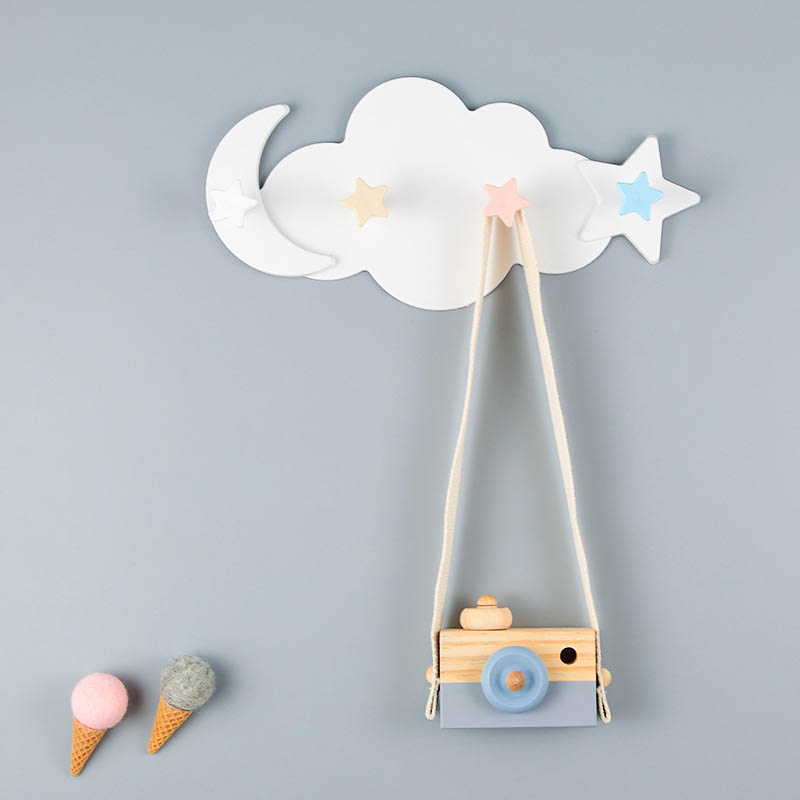 3/4 cloud shape hook Self-adhesive wall without nail keychain Hat clothes hook Home accessories