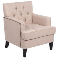 Lazy Sofa Bed Small Apartment Bedroom Classical Fabric Sofa Single Sofa with Button Beige Comfortable