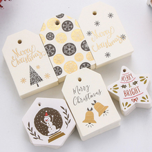 50/100Pcs Merry Christmas Tags Labels Gift Wrapping Paper Hanging Tags Santa Claus Paper Cards Xmas DIY Crafts Party Supplies