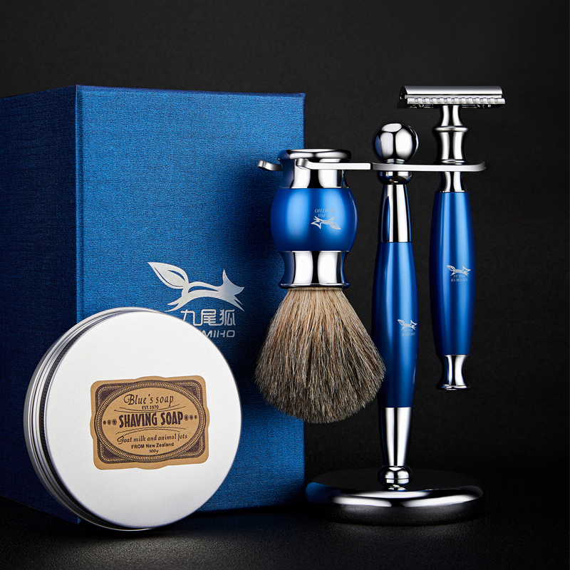 Men's Manual Shaving Safety Double-Edge Blade Razor Shaver Five-Layer Shaver Blade Shaving Brush Shaving Soap With Shaver Hanger