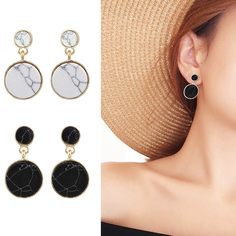 Trend Jewelry Round Drop Earrings Hanging Skewers Marble Earrings Round Motifs for Women Statement Earring