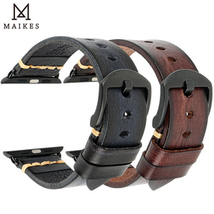 Image 2 - Handmade Leather Watch Strap Replacement For Apple Watch Band 44mm 40mm 42mm 38mm Series SE 6 5 4 3 2 iWatch Watchbands