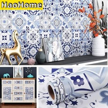 HaoHome Self Adhesive Contact Paper Backsplash Peel and Stick Wallpaper Moroccan Tile Waterproof Removable Blue Tile Wallpaper