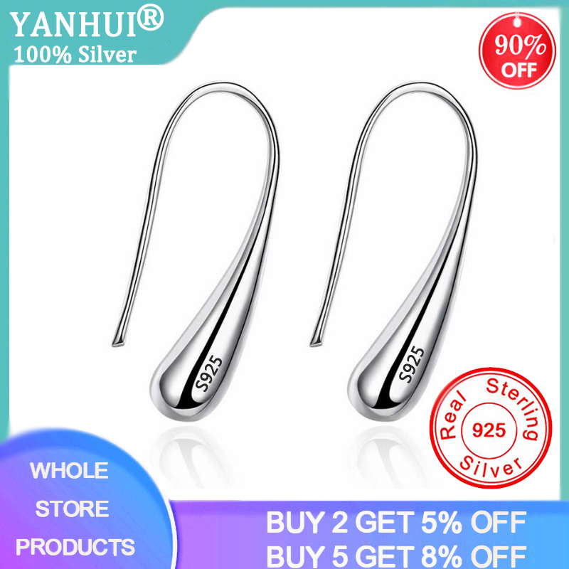 YANHUI 100% Solid 925 Silver Earrings Water Drop/Teardrop/Raindrop Drop Earrings Dangle Earrings for Women Fine Jewelry Gift