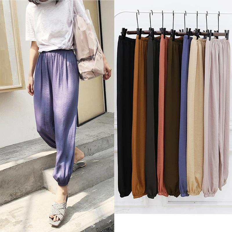 Free Size 2020 Summer Casual Bohemian Trousers For Women Ankle-Length Loose Solid