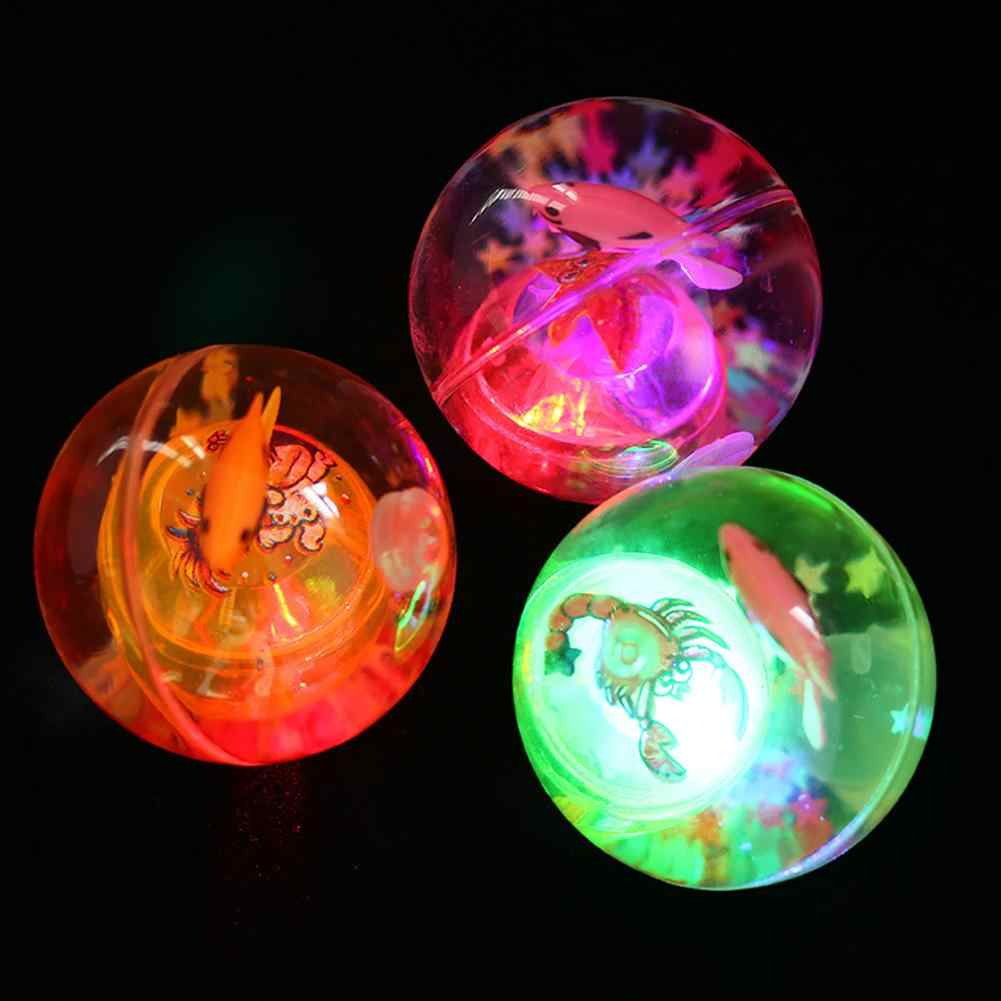 Cartoon Fish Inside Auto Vibration Switch Glowing Elastic Ball With Rape Kid Toy Gift Novel Funny Decompression toy For Children