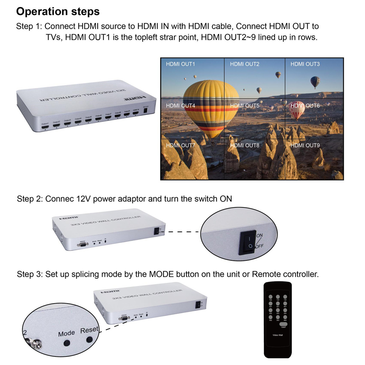 Image 4 - 3x3 HDMI Video Wall Controller Adapter 1x9 Hdmi Connector HD LCD TV wall Processor RS232 Control For HDTV Display Free Shipping-in Home Theatre System from Consumer Electronics