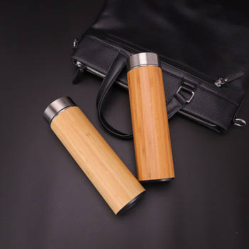 1PCS Creative 500ml Bamboo Wood Thermos Cup 304 Stainless Steel Morning Water Bottles Wood Grain Bamboo Car Gift Cup 4