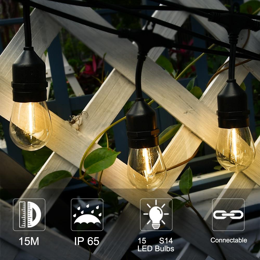 String Lights Waterproof IP65 15m 15 Bulbs 48Ft S14 LED Edison Filament Bulb Retro Backyard Garden Holiday Wedding Lights