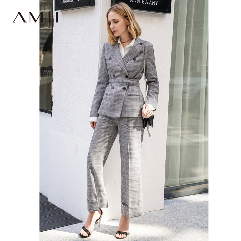 Amii Minimalist Office Lady Two Pieces Set Spring Women Plaid Double Breasted Blazer With Belt Casual Pants 11840145