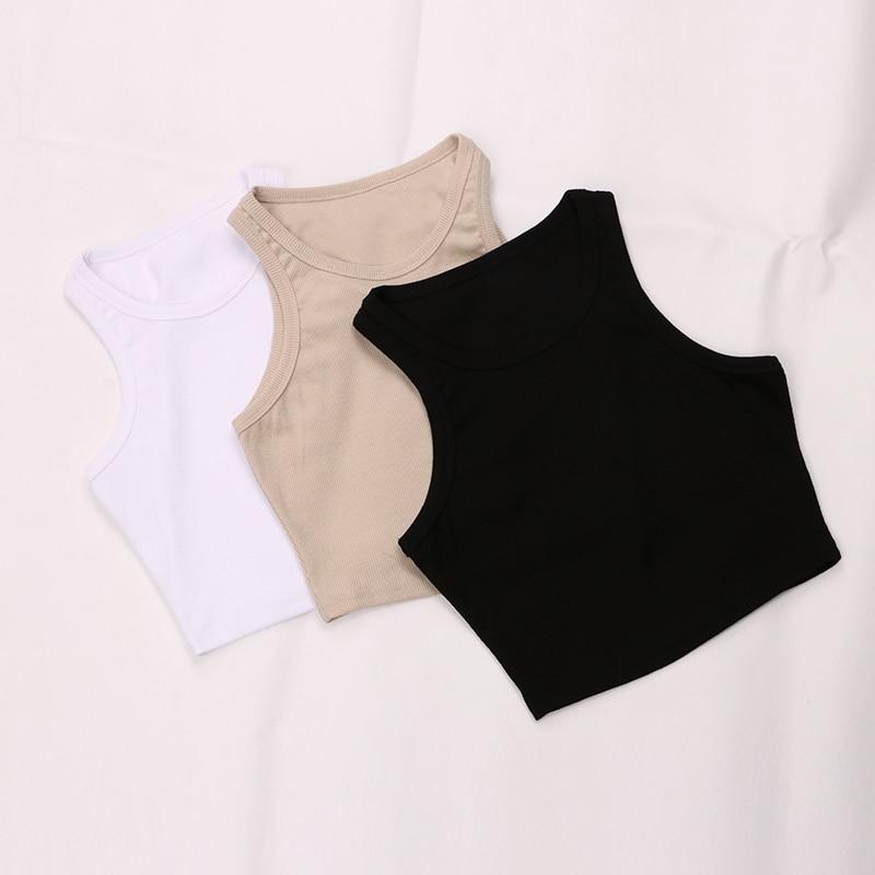 Women's Korean Shoulder Knitted Ribbed Tank Tops