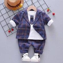 Bibicola Мальчики Костюмы комплект весенне-Осенняя мода, праздничная одежда для детей вечерние комплект одежды для маленьких мальчиков, Детские Комплект одежды из хлопковой ткани, комплекты одежды