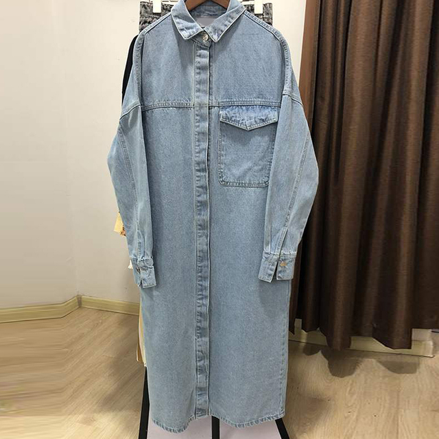 Spring Autumn Women Vintage Blue Long Denim Jackets Solid  Pocket Jeans Coat Female Outwear Tops Casual Loose Cowboy Windbreaker 5