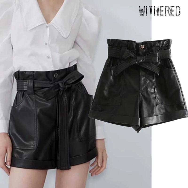 Withered Winter Leather Shorts Women England Style High Waist Sashes Personality Harem PU Short Feminino Plus Size Women Short