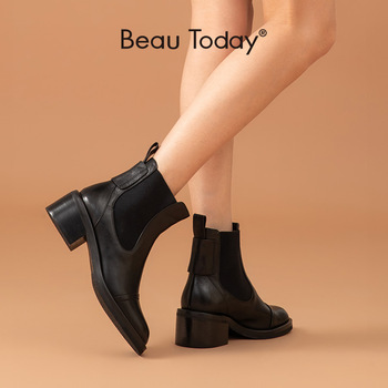 BeauToday Chelsea Women Boots Genuine Calfskin Leather Ankle Boots with Elastic Bands High Heel Shoes for Women Handmade 04038 beautoday chelsea boots women cow suede pointed toe chunky heel elastic ladies ankle boots handmade a03324