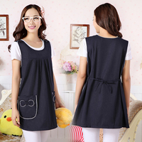 Metal Blended Fiber Maternity Clothes Solid Bow-knot Design Radiant Apron Tops For Pregnant Woman For Seasons With Apron ZL65
