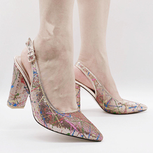 Champagne Shoes Pumps Women Heels Slingbacks Venus Chan 9CM Sequined Italy-Style