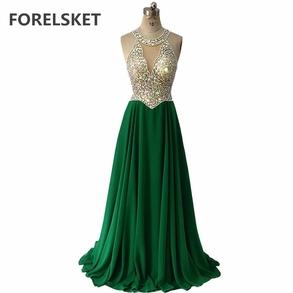 Illusion Green Chiffon Prom Dresses 2020 Beading Crystals Long Evening Gowns Sleeveless A -Line V -Neck Formal Party Dress Women