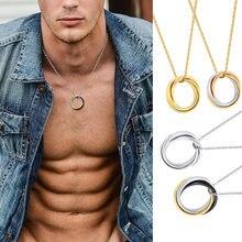 Collar de círculo ruso entrelazado TRIPLE para hombres y mujeres, TRI-TONE de metal de acero inoxidable, colgante