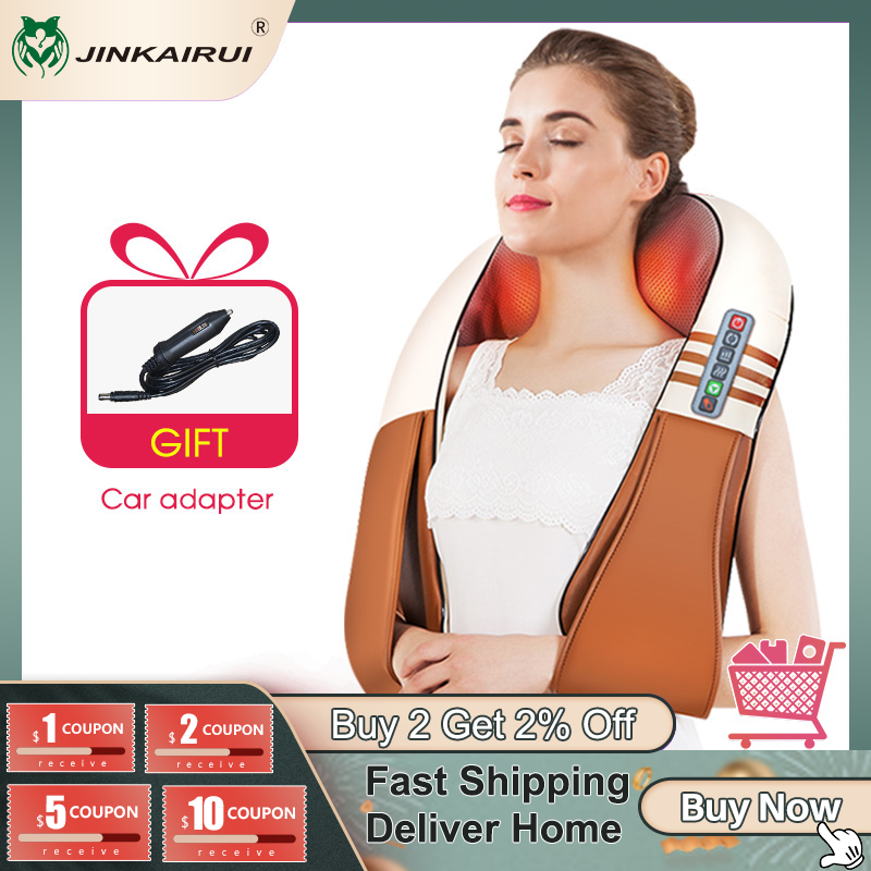 (with Gift Box) JinKaiRui U Shape Electrical Shiatsu Back Neck Shoulder Body Massager Infrared Heated Kneading Car/Home Massager|massage infrared|body massagercar back massage - AliExpress