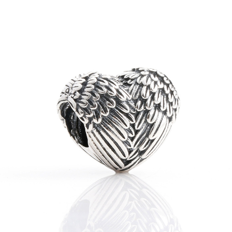 Free Shipping Authentic 925 Sterling Silver Beads Angel Wings Heart Charms Fit Original Pandora Bracelet For Women DIY Jewelry(China)
