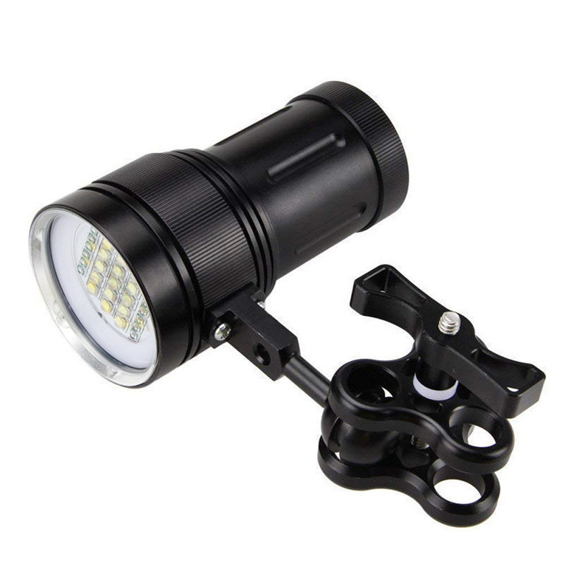 6mm Polycarbonate Board 15x XM L2+6x R+6x B 12000LM LED Photography Video Scuba Diving Flashlight Torch SOS 18650