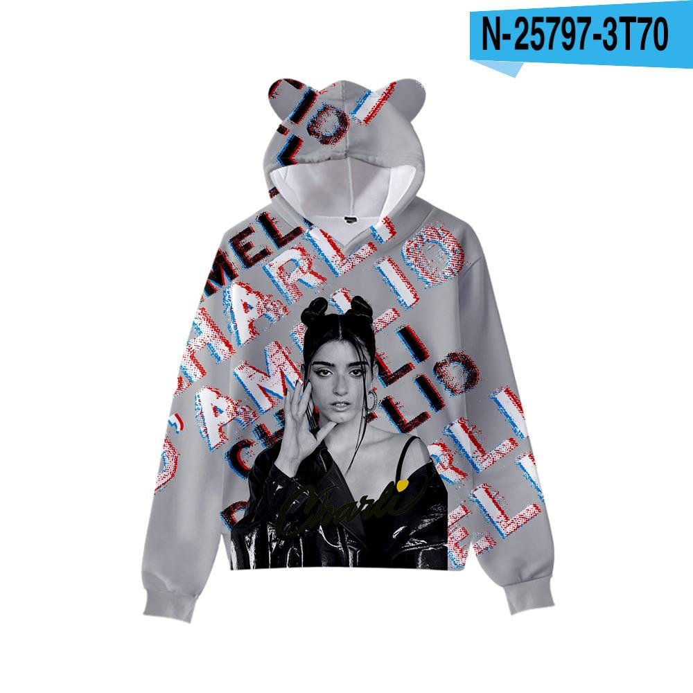 3D Print Charli D'Amelio Hoodies Boys/Girls Cat ears Hip hop Kpop Sweatshirts Hooded Autumn Winter Charli Damelio Merch Tops 7