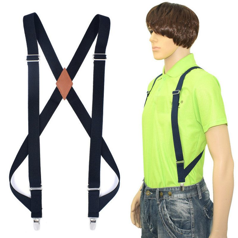 Men Women 2 Clips Shirt Stay 2.5cm Pants Trouser Clip-on X-Back Braces Pu Leather Elastic Alloy Metal Head Adjustable Suspenders