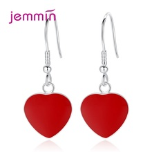 Boutique Lady 925 Sterling Silver Drop Earrings Red Heart Design Korean Trend Cartilage Piercing Ear Rings For Wedding Party