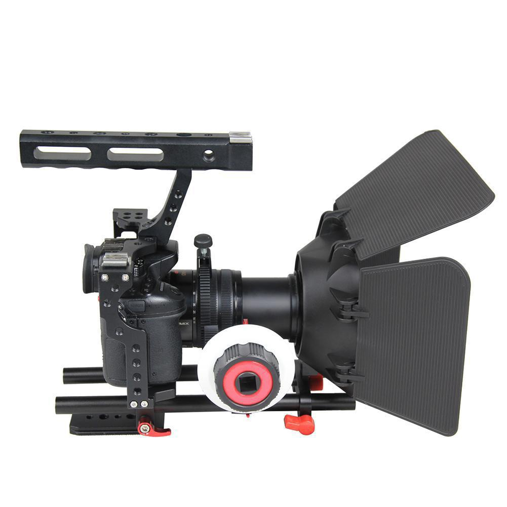 Aluminum Alloy Camera Cage Video Stabilizer Video Cage Kit Mount with Matte Box and Follow Focus for Sony A7 A7II A7r A7s II