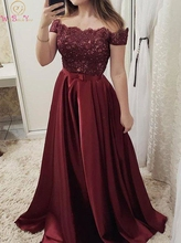 Burgundy Prom Dresses Satin Lace Applique Crystal Belt Bow 2019 Long A Line Off Shoulder Boat Neck Formal Women Gown Customized