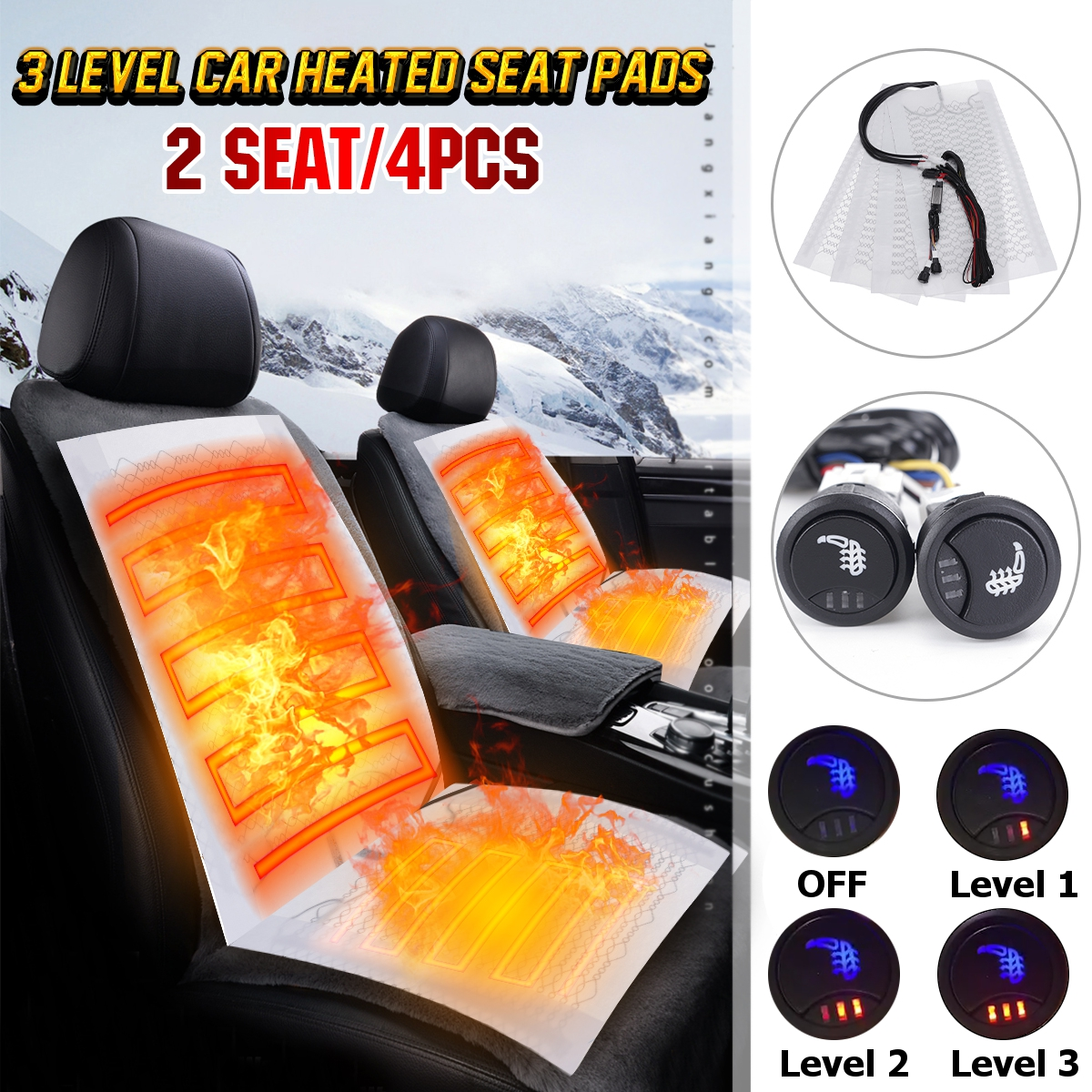 2 Seats 4 Pads Carbon Fiber Car Heated Pads Heating Heater Seat Pads Winter Warmer Seat Covers 2 / 3 Level DC 12V