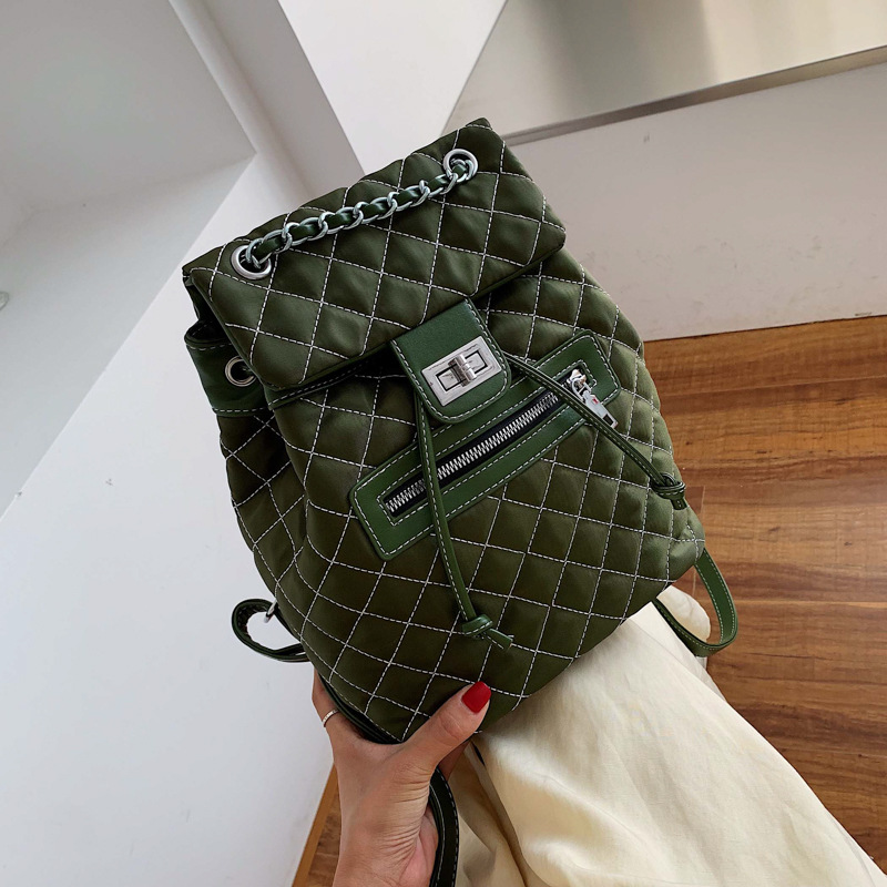 Soft Leather Women Shoulder Bag Fashion Solid Color Backpack 2019 New Classic Rhombus Mochila Feminina Girl Travel Backpack