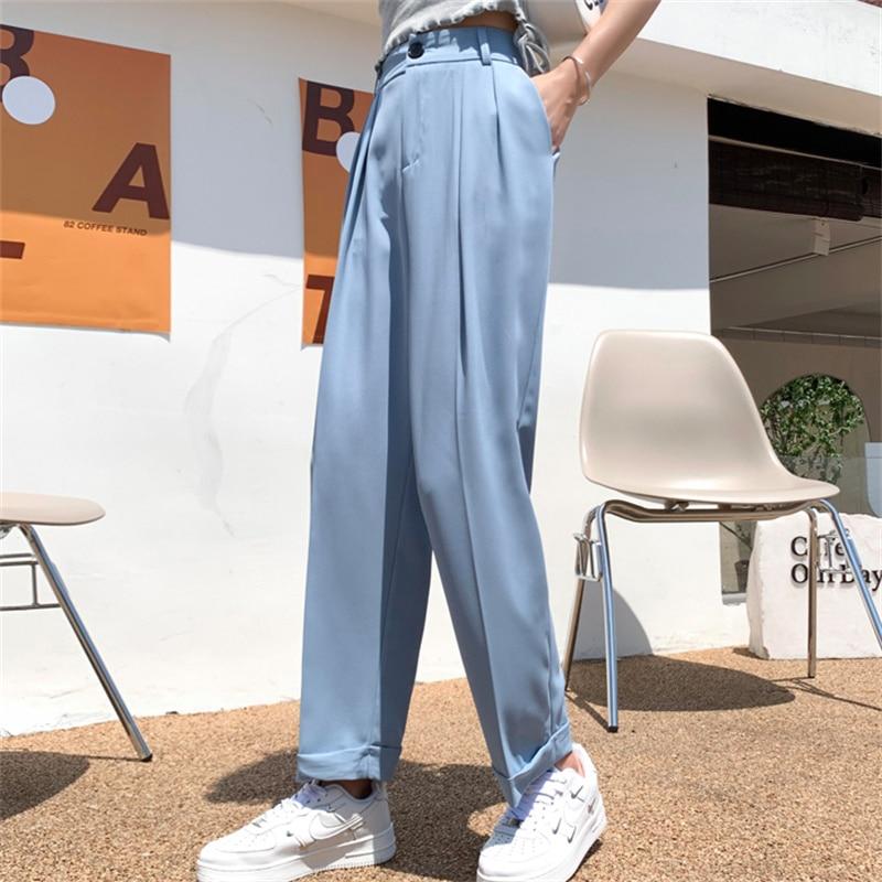 Hzirip solto mais tamanho fino em linha reta ol senhoras quentes casual perna larga 2021 verão cintura alta calças finas femme novas calças sólidas