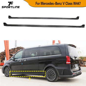 Carbon Fiber Door Extension Lip Aprons Bottom Side Skirts For Mercedes-Benz V Class W447 V250 V220d 2015 2016 2017 2018 2019 image