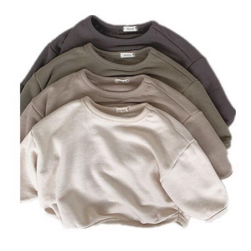 Children Sweatershirt Girls Boys Korean Style Soft Solid Color Cotton Warm Fleece Thick Kids T Shirt Outwear