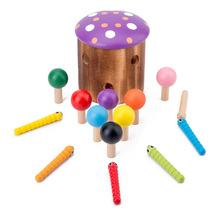 Wooden Toys 3D Puzzle Baby Catch Worm Game Color Cognitive Toy Early Childhood Educational