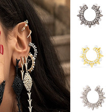 Cyrstal Punk Rivet Ear Cuff Clip Women Trendy Inlaid Rhinestones Zinc Alloy Earrings Earcuffs Gothic Steam Party Jewelry pair of trendy geometric rhinestone alloy ear cuff for women