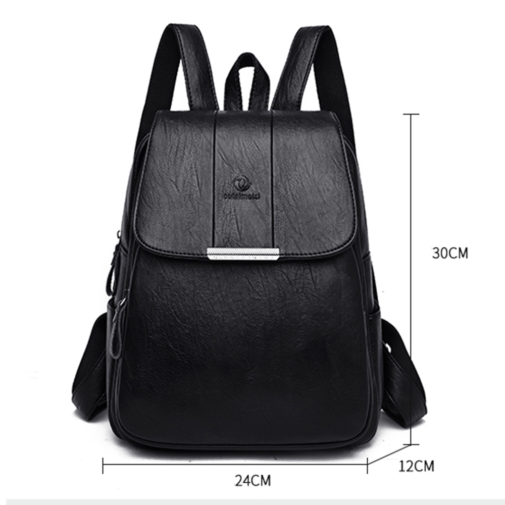 Image 4 - Womens Soft Leather Backpack High Quality Female Bagpack School Bags for Teenage Girls Large CTravel Backpack Mochila Mujer 2019-in Backpacks from Luggage & Bags