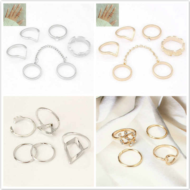1 Set Sell Elephant Ring Fashion Gold Color Knuckle Rings For Women Finger Knuckle Rings