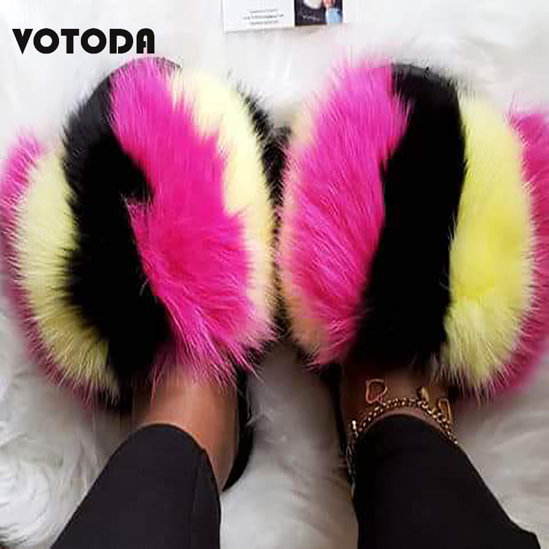 Fashion Fluffy Fox Fur Slides Women Fur Slippes Furry Raccoon Sandals Fur Flip Flops Flat Home Slipper Woman Fuzzy Amazing Shoes
