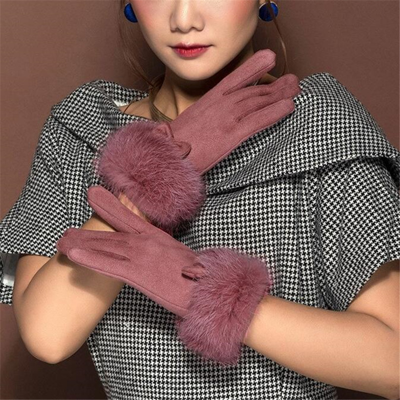 VISNXGI Fashion Suede Elegant Women Gloves Winter Warm Driving Soft Wrist Bow Gloves Female Mittens Guantes Mujer High Quality